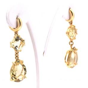 Orecchini pendenti oro e quarzi lemon - 4.8 cm; 14 gr