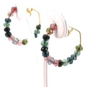 Orecchini anelle oro e tormaline multicolor - 2.6 cm; 4.82 gr.
