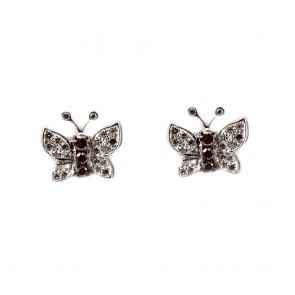 Orecchini farfalle al lobo oro e diamanti bianchi e brown