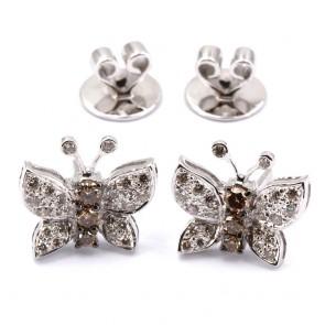 Orecchini farfalle al lobo oro e diamanti bianchi e brown - 0.65 ct; 4.47 gr