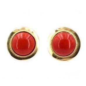 Orecchini al lobo bottoni in stile oro e corallo rosso