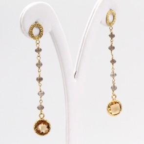 Orecchini pendenti oro a catenella, quarzi fumè e topazi citrini - 6 cm; 3.4 gr.