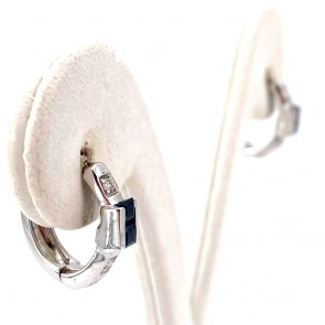 Orecchini anelle mezzelune in oro, zaffiri -0.40-0.50 ct- e diamanti -0.12-0.15 ct