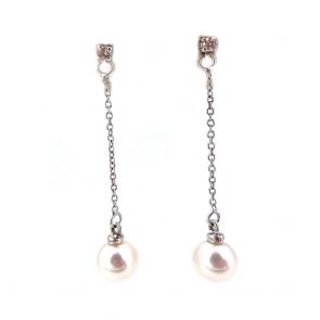 Orecchini pendenti oro, perle giapponesi