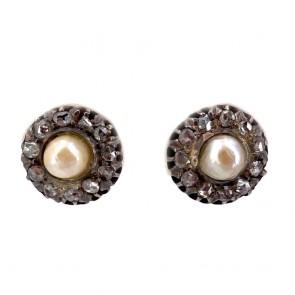 Orecchini al lobo oro, toppe antiche perle giapponesi