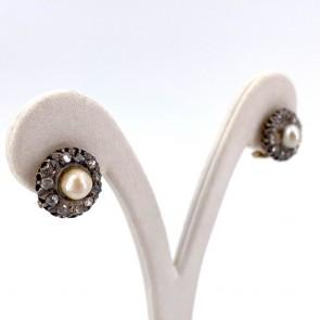 Orecchini al lobo oro, toppe antiche perle giapponesi -5 mm- e diamanti - 0.45-0.50 ct; 5.95 gr