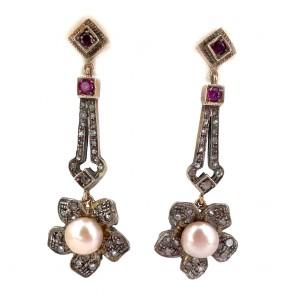 Orecchini pendenti vintage, in stile antico, perle