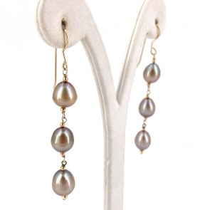 Orecchini pendenti oro, perle mare gold irregolari -8-9 mm-  7 cm - 7.75 gr