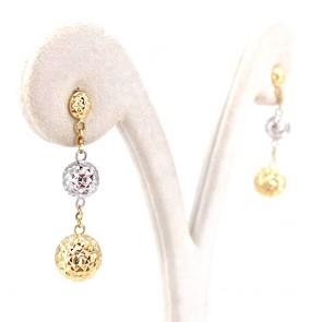 Orecchini oro catenella e boulle effetto diamantato, oro bicolore - 3 cm; 2.13 gr