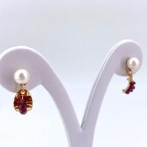 Orecchini pendenti corti oro, perle -6 mm- e tormaline; 2.2 cm - 3.10 gr
