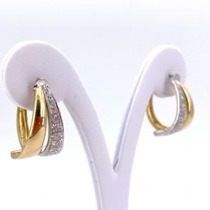 Orecchini ad anelle doppie sul fronte, oro bicolore e zirconi; 2.5 cm - 8.96 gr