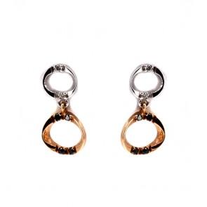 Orecchini pendenti corti, oro bicolore e diamanti
