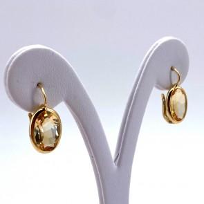 Orecchini pendenti corti oro e quarzo citrino; 2.1 cm; 4.1 gr