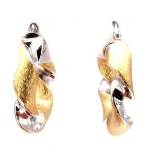 Orecchini ad anelle, oro ritorto bicolore
