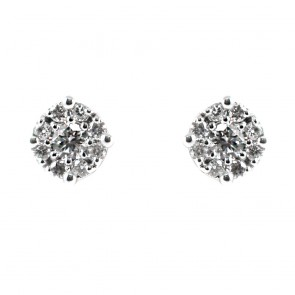 Orecchini margherite circolari oro e diamanti - 0,80 ct; 2,7 gr