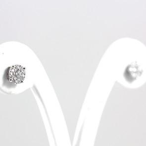 Orecchini margherite circolari oro e diamanti - 0,89 ct; 2,9 gr