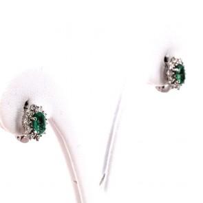 Orecchini a margherita al lobo oro, smeraldo -1.20 ct- e diamanti -0.43 ct- 1 cm x 0.8 cm; 2.87 gr