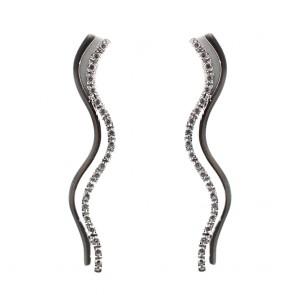 Orecchini rigidi a doppia onda, con zirconi - 7,8 gr; 4,6 cm