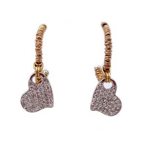 Orecchini anelle Roberto Demeglio, oro e cuori diamanti -