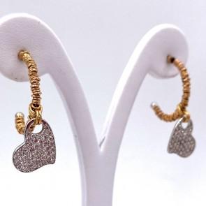 Orecchini anelle Roberto Demeglio, oro e cuori diamanti - 1.32 ct; 8.7 gr - 2.4 cm