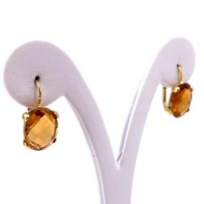 Orecchini pendenti corti oro e quarzi citrini idrotermali; 2 cm - 4.56 gr
