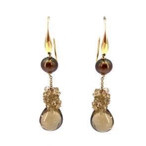 Orecchini pendenti lunghi oro, perle brown e topazi