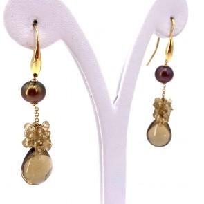 Orecchini pendenti lunghi oro, perle brown e topazi. 5.8 cm - 9.66 gr