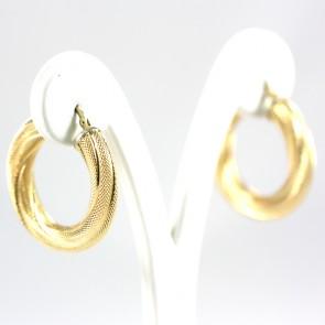 Orecchini anelle in stile, ritorte, puntinate e scanalate - 9,3 gr; 3,1 cm