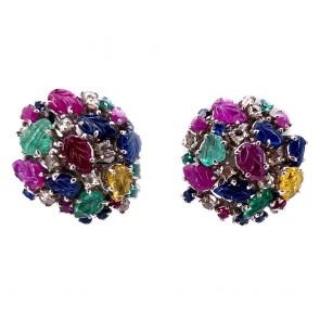 Orecchini toppe multicolor in stile oro, smeraldi , rubini, zaffiri