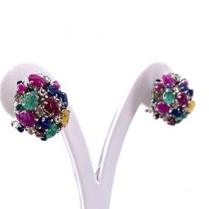 Orecchini toppe multicolor in stile oro, smeraldi , rubini, zaffiri e diamanti; 12.4 gr