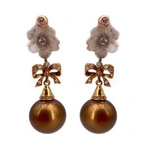 Orecchini pendenti, perle brown