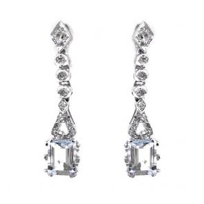 Orecchini pendenti oro, diamanti -0.33-0.40 ct- e acquamarina