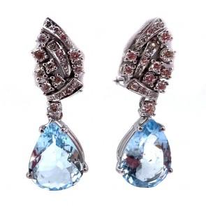 Orecchini pendenti oro, diamanti -0.85 ct- e gocce di acquamarina -
