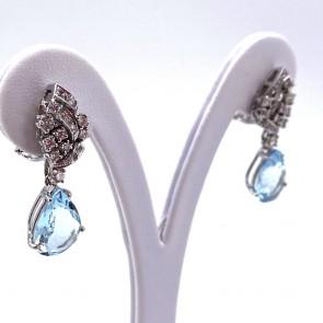 Orecchini pendenti oro, diamanti -0.85 ct- e gocce di acquamarina - 7.52 ct- 3.3 cm; 9.66 gr
