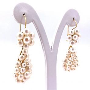 Orecchini pendenti lunghi oro e perle - 6.5 cm - 19.77 gr