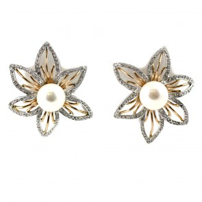Orecchini al lobo maxi fiore oro, perla australiana da 10 mm e diamanti - 1,15 ct; 19 gr