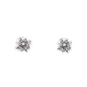 Orecchini punti luce oro e diamanti solitari - 0,51 ct; 1,1 gr