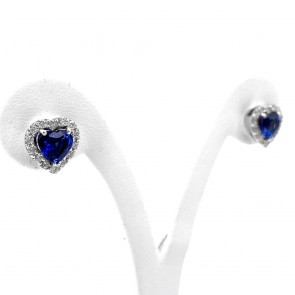 Orecchini al lobo cuore, oro, zaffiri - 2.9 ct- e diamanti - 0.98 ct; 4.19 gr