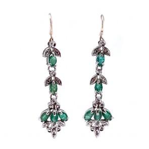 Orecchini pendenti simil oro, argento, smeraldi