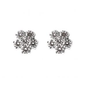 Orecchini punti luce fiorellini oro e diamanti - 0,52 ct; 2,5 gr