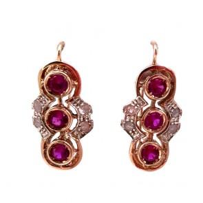 Orecchini pendenti in stile, modello semaforo, argento, oro e pietre di sintesi;