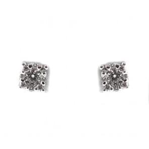 Orecchini punti luce margherite oro e diamanti - 0,20 ct; 1,5 gr