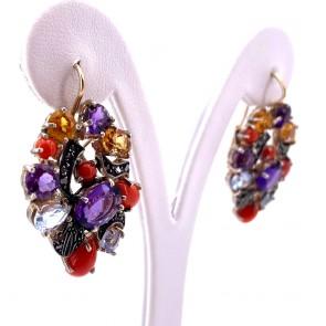 Orecchini pendenti maxi in stile, multicolor, argento, oro e gemme di colore; 20.39 gr - 4.1 cm