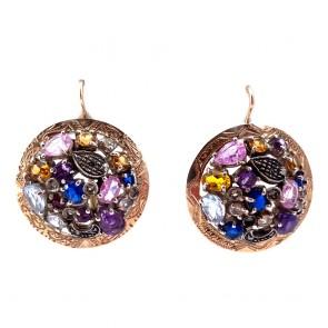Orecchini pendenti toppe maxi in stile, multicolor, argento, oro e gemme di colore