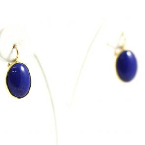Orecchini pendenti corti ovali di lapis e oro - 2,5 cm; 5,2 gr