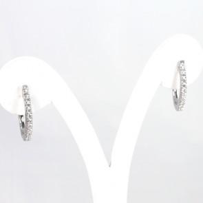 Orecchini anelle ovali oro e diamanti - 0,48 ct- 4,8 gr; 2,1 cm