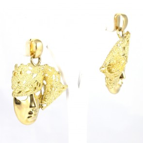 Orecchini oro firmati Lace, Maschere veneziane e pizzo d'oro - 23,85 gr; 4,5 cm