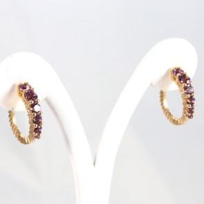 Orecchini mezzelune ovali oro rosa e ametista - 12 ct- 7,9 gr; 2,1 cm