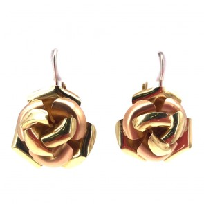 Orecchini pendenti rose, oro bicolore