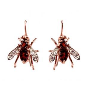 Orecchini pendenti api in stile, argento